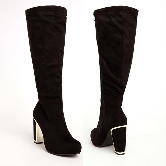 f8e6e7faae7 Torrid Wide Calf Metal Heel Black Slouch Boots NWT